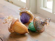 Forest Acorns by Treg  Silkwood (Art Glass Sculpture)