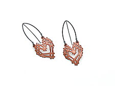 Stick and Stone Heart Earrings by Joanna Nealey (Enameled Earrings)