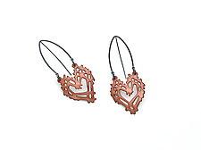 Stick and Stone Heart Earrings by Joanna Nealey (Enameled Earrings)