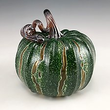 Medium Crackle Pumpkin by Leonoff Art Glass  (Art Glass Sculpture)