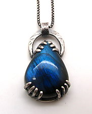 Pear Shaped Labradorite Pendant by Lauren Passenti (Silver & Stone Necklace)