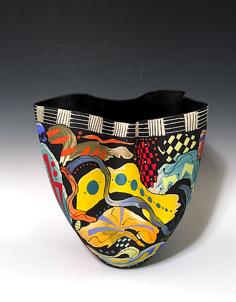 Abstract Multicolored Tall Vase with Black Interior