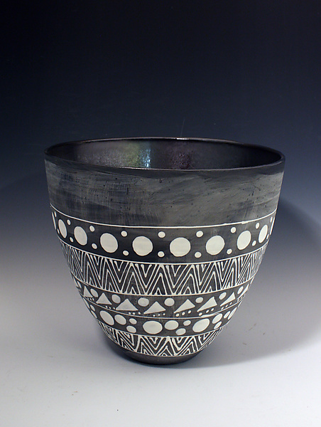 Palladium and Matte Black Tall Vase with White Geometric Designs