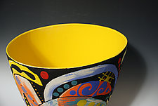 Abstract Multicolored Tall Vase with Bright Yellow Interior by Jean Elton (Ceramic Vase)