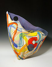 Bold Paint-Stroke Sailvase with Blue to Periwinkle Fade Interior by Jean Elton (Ceramic Vase)