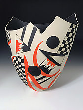 Sculpted Orange and Checkered Tall Vase by Jean Elton (Ceramic Vase)