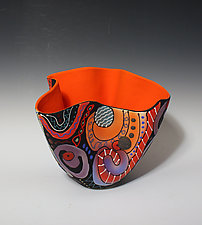 Abstract Multicolored Tall Vase with Red Orange Interior by Jean Elton (Ceramic Vase)