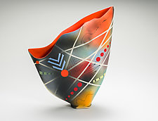 Sailvase with Flame Orange Interior by Jean Elton (Ceramic Vase)