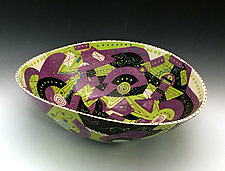 Mauve and Chartreuse Geometric Elliptical Bowl by Jean Elton (Ceramic Bowl)