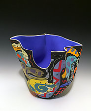 Abstract Multicolored Tall Vase with Electric Blue Interior by Jean Elton (Ceramic Vase)