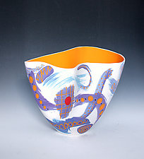 Abstract Periwinkle Paint-Stroke Folded Tall Vase with Light Orange Interior by Jean Elton (Ceramic Vase)