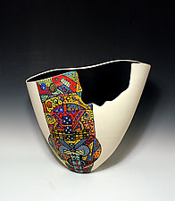 White Tall Vase with Colorful Geometric Patterned Section and Matte Black Interior by Jean Elton (Ceramic Vase)