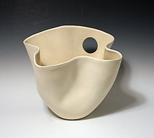 Matte and Gloss Two-Tone White Folded Tall Vase with Circle Cutout by Jean Elton (Ceramic Vase)
