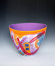 Abstract Spring-Colored Tall Vase with Purple Interior by Jean Elton (Ceramic Vase)