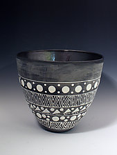 Palladium and Matte Black Tall Vase with White Geometric Designs by Jean Elton (Ceramic Vase)