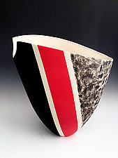 Elliptical Black and White Patterned Tall Vase with Red Stripe by Jean Elton (Ceramic Vase)
