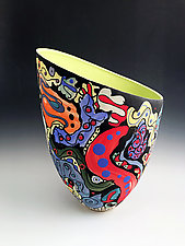Vibrant Multicolored Tall Vase with Chartreuse Interior by Jean Elton (Ceramic Vase)