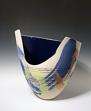 Abstract Chartreuse and Blue Paint-Stroke Tall Vase with Cutout and Sapphire Interior by Jean Elton (Ceramic Vase)