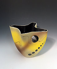 Yellow Abstract Tall Mottled Vase with Metallic Interior and Circle Cutout by Jean Elton (Ceramic Vase)