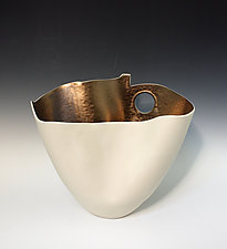 Folded Vase with Gold Interior and Circle Cutout by Jean Elton (Ceramic Vase)