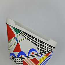 Multi-Colored Unique Sailvase by Jean Elton (Ceramic Vase)