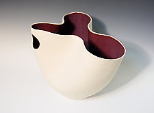 Folded Vase with Merlot Interior and Circle Cutout by Jean Elton (Ceramic Vase)