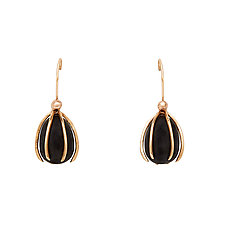 Cage Obsidian Earrings by Julie Cohn (Bronze & Pearl Earrings)