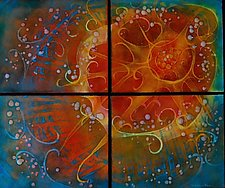 Summer Sky Quartet by Cynthia Miller (Glass Sculpture)