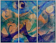 Trio of Sand and Sea by Cynthia Miller (Art Glass Wall Sculpture)
