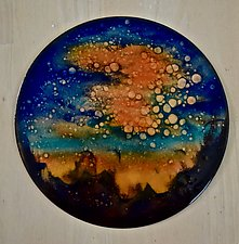 Mysterious Sunset Disc by Cynthia Miller (Art Glass Wall Sculpture)
