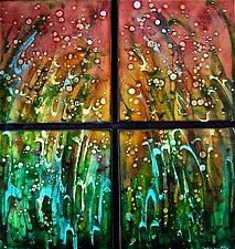 Early Fireflies Quartet by Cynthia Miller (Art Glass Wall Sculpture)