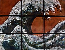 The Wave in Nine Panels by Cynthia Miller (Art Glass Wall Sculpture)