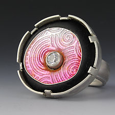 Floating Circle Ring in Light Pink by Jennifer Park (Silver, Enamel & Stone Earrings)