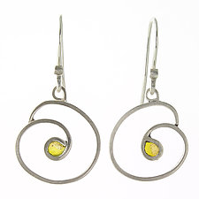 Yellow Circle Earring by Jennifer Park (Silver & Enamel Earrings)