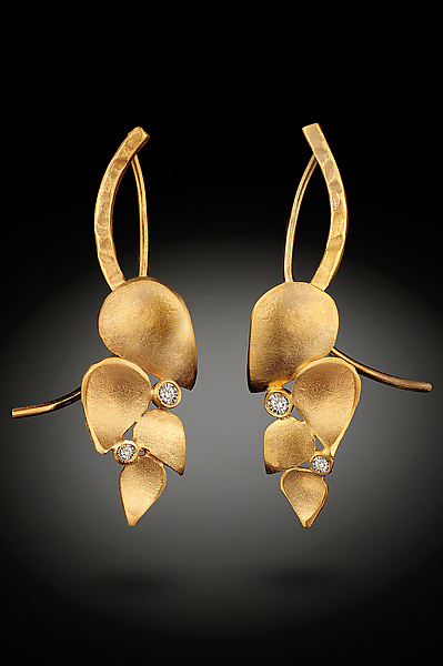 Leaf Earrings with Diamonds