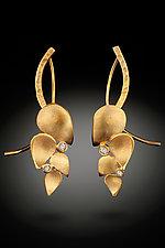 Leaf Earrings with Diamonds by Rosario Garcia (Gold & Stone Earrings)