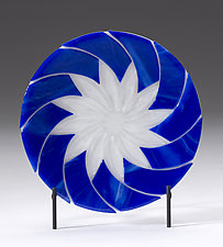Blue and White Swirl Platter by Denise Bohart Brown (Art Glass Platter)