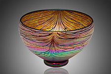 Gold Ruby Canyon Bowl by David Lindsay (Art Glass Bowl)