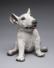 Young Bull Terrier by Ronnie Gould (Ceramic Sculpture)