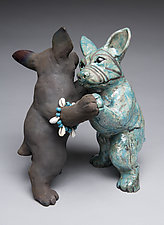 Dancing Dogs by Ronnie Gould (Ceramic Sculpture)
