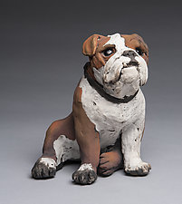 Small English Bulldog by Ronnie Gould (Ceramic Sculpture)