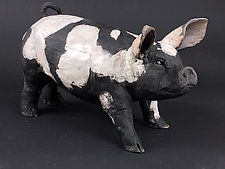 Black and White Hog by Ronnie Gould (Ceramic Sculpture)