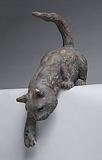 Curious Cat by Ronnie Gould (Ceramic Sculpture)