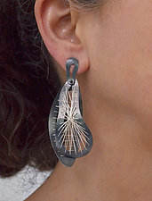 Interwoven Sew Weave Earrings by Suzanne Schwartz (Silver Earrings)