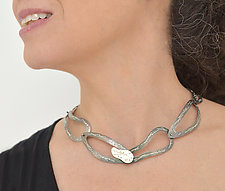 Interwoven Stitched Oxidized Necklace With Silver Clasp by Suzanne Schwartz (Silver Necklace)