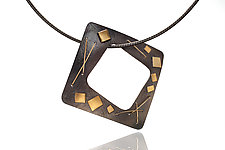 Open Square Necklace by Suzanne Schwartz (Gold & Silver Necklace)