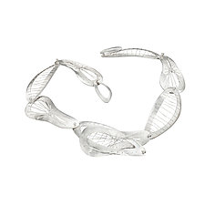 Interwoven Sew Weave Necklace by Suzanne Schwartz (Silver Necklace)