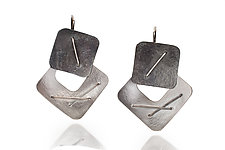 Two-Piece Layered Stitched Square Earrings by Suzanne Schwartz (Silver Earrings)