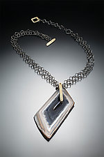 Polyhedroid Necklace on Double Square Chain by Suzanne Schwartz (Silver & Stone Necklace)