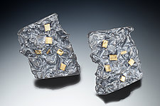Contour Stud Earring with Gold Accent Squares by Suzanne Schwartz (Gold & Silver Earrings)